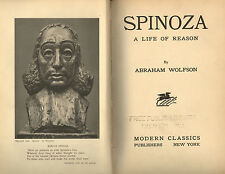 SPINOZA: a Life of Reason (1932) by Abraham Wolfson * philosophy Charles Skelton