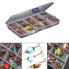 Lot 30pcs Colorful Trout Spoon Metal Fishing Lures Spinner Baits Bass Tackle FS