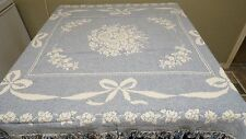 AVON HOME REVERSIBLE BLUE WHITE TABLECLOTH THRO BOWTIE FLORAL DESIGN FRINGE NWOT