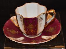 Vtg ARDALT OCCUPIED JAPAN Cup & Saucer Demitasse Embossed Gold Trim Hand Painted