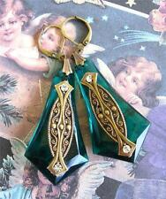 Vintage Art Deco Large Emerald Drop Geometric Earrings Antiqued Goldtone Ornate