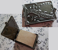 Locket Book Antiqued Silver Pendant with Paper Booklet for Memorabilia or Photos
