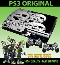 PLAYSTATION PS3 OLD SHAPE STICKER SKULLS GOTHIC DARK ART SKIN & 2 PAD SKINS