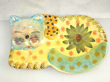 Italian Pottery Spoon Rest - Blue Face Napping Cat w/ Green Flower & Blue Tail
