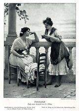 Eugene von Blaas Liebesbotschaft Italien- Motiv Historischer Kunstdruck 1913