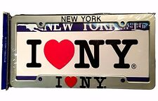 I Love NY Metal License Plate Frame Tag Holder Heart New York NYC Seller