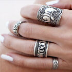 4PC Punk Ring Set Unique Carved Silver Elephant Totem Leaf Lucky Midi Rings GIFT