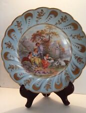 ANTIQUE LIMOGES PORTRAIT PLATE Fragonard Courting Couple France BLUE BOWL Sheep
