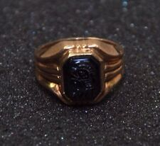 Vintage Gold Filled Gentlemens Carved Black Onyx Intaglio Pinky Ring
