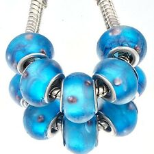 5Pcs GF Blue Crystal  MURANO GLASS lampwork european beads For jewelry making