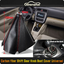 Universal Red Stitch Car Black Carbon Fiber Manual/Auto Shifter Shift Boot Cover