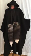 COLORATURA BOSTON O/S BLK 100% WOOL HOODED CAPE PONCHO RUANA COAT FOX FUR TAILS!