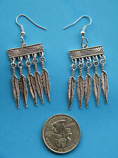 Southwest 10 Feathers EARRINGS Tibet Silver FEATHER Silver Plated  Ear Wires NEW