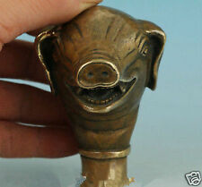 Asian Chinese Old Bronze Hand Carved Pig Statue Cane Walking Stick Head Collect