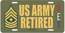 SGM E-9 US Army Retired on an OD Green Aluminum License Plate - Made in USA