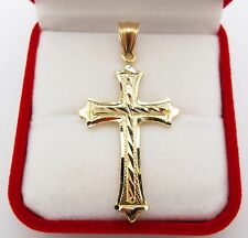 Mens 10k Yellow Gold Cross Pendant Diamond Cut Gold Crucifix Charm 3.5 g