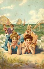 Vintage Decorative Victorian/Edwardian Beach/Seaside Scenes Colourful A4 Print21