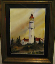 LIGHTHOUSE pAINTING; Original Watercolor; 8 1/2x11 1/2""