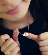 18K Yellow Gold Plated Mother Elephant with Cute Little Baby Elephant Necklace