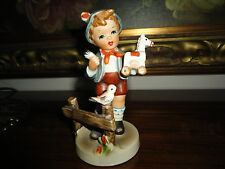 Vintage Giftcraft Made Japan German Boy Porcelain Figure 5 inch Fixing Toy Horse