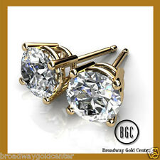 1.00 TCW Round Brilliant Cut Earrings 14k Solid Yellow Gold ON SALE!!!!!!