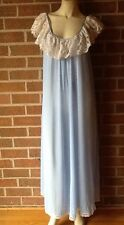 LUCIE ANN Nightgown Full-Length Tent Blue Sleeveless w/ Lace Overlay Nylon M