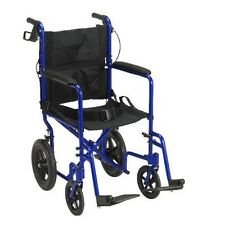 Drive Medical Lightweight Expedition Transport Wheelchair W/ Hand Brakes Blue