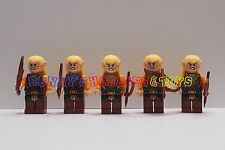 New Lord of the Rings Minifigures 5 x Elf Warrior Soldier w/ Weapon Custom-Brand