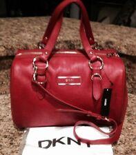 NWT DKNY RED LARGE VINTAGE LEATHER PLAQUE SHOULDER HANDBAG Orig $325