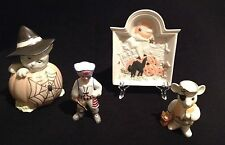 LENOX HALLOWEEN DISH, MOUSE BUCCANEER, PIRATE BOY, AND WITCH KITTY IN PUMPKIN