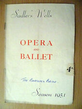 .1951 Sadler's Wells  Opera and Ballet Programme:THE BARTERED BRIDE(Smetana)