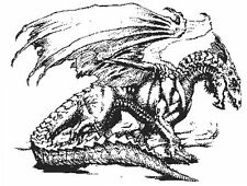 Miniature dragon rubber stamp WM