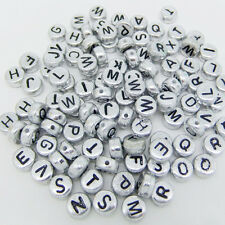 100PCS Jewelry Letter Cube Making Loose Random Alphabet DIY Spacer Acrylic Beads