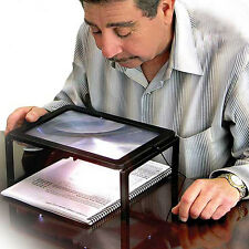 Large A4 Full Page Hands Free Magnifying Glass Sheet 4LED Magnifier W/ Neck Cord