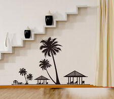 Asmi Collection Pvc Wall Stickers Wall Decals Beach Black Palm Tree Hut