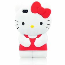 For IPhone 4 4S  3D Hello Kitty 3D Character  Soft Silicone Case Cover - Red