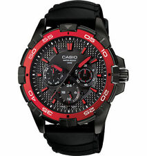 Casio Men's Black Resin Watch, Date, 100 Meter, 3 Sub-Dials, MTP1069B-1A2