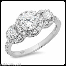 1.70CT Three Stone Cut Diamond Solid 14K White GOLD Engagement Wedding Halo Ring