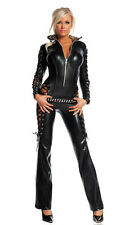 Starline Rebel Black Catsuit Biker Racer Sexy Womens Costume L 12
