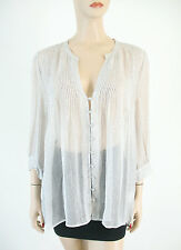 Joie Laurel Printed Chiffon Blouse Top Silver Fox Gray M $248 8023 BM5 -FLAW