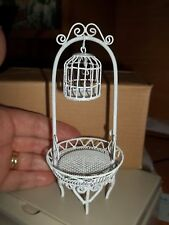 BEAUTIFUL WHITE WIRE BIRD CAGE ON STAND  - DOLL HOUSE MINIATURE