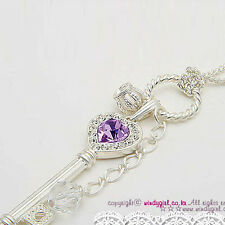 Elegant Heart Silver Color Crown Key Purple Crystal Rhinestone Necklace
