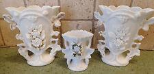 """3 Vintage Porcelain VASES FLORAL Flowers WHITE/GOLD 6 1/8"""" & 4"""" (6101/990) Vtg"""