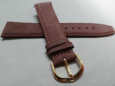 Mens Brown Genuine Suede Leather Padded 20mm Watch Band Gold Tone Buckle $9.95