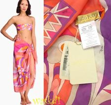 EMILIO PUCCI large coral & violet PEONIA cotton Batiste PAREO shawl NWT Authentc