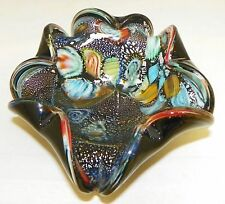 Vintage Murano Art Glass Millefiori Ashtray Multi-colors on  Black ~ 6 Inch