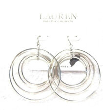 Ralph Lauren Silver Circle Design Drop Earrings