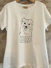 NWT NEW BARBOUR HERO GRAPHIC TEE SHIRT DOG RETREIVER HOUND HERO UK 12 US 18