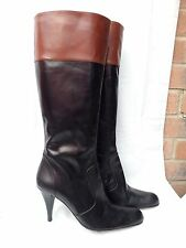 "LAURA CAMINO UK 6 / 39 Black & Tan Brown knee high all leather boots 3"" heel VGC"