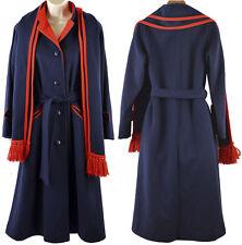 Vintage Wool Pea Coat Jacket Scarf S M Blue 60s Mackintosh Long Button Union USA